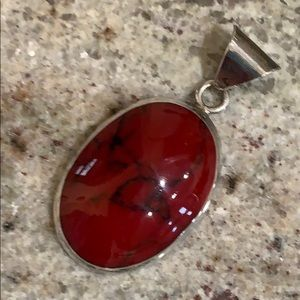 Blood Red Stone Pendant in Sterling ❤️